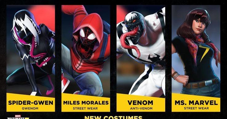 Marvel Ultimate Alliance Skins: Ms. Marvel, Miles Morales y Gwenom