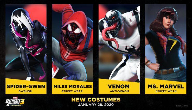 Marvel Ultimate Alliance skins de Ms. Marvel, Miles Morales y Gwenom